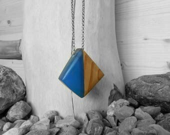 Rhomboid necklace/pendant/pendant wood resin blue