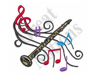 Clarinet With Music - Machine Embroidery Design