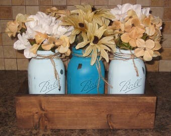 Pool Blue Peacock Color Centerpiece Rustic Table Decor Table Centerpiece  Painted Jars Mason Jars Wooden Box