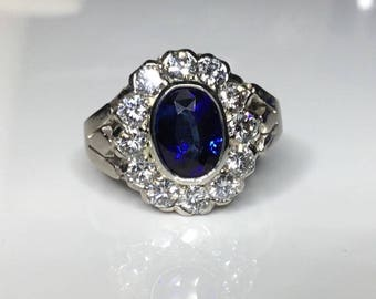 Estate Antique 18K White Gold 2.70 CTW Natural Royal Blue Sapphire & Diamond Ring