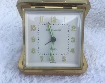 Vintage Phinney Walker mechanical wind up German made travel alarm clock with luminescent hands and numbers