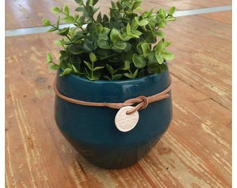 Blue ceramic planter, indoor, modern flower planter, home decor, handmade in France