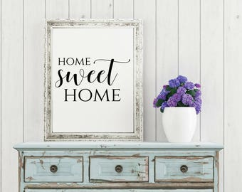 Gentil Home Sweet Home Sign, Home Decor Wall Art, Housewarming Gift, Rustic Prints,