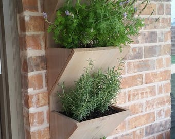 Wall Planter Box  |  Herb Garden Planter  |  4 Tier Vertical Garden Planter  |  Large Planter Box Outdoor