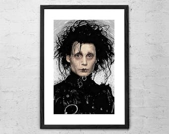 Edward Scissorhands - Digital Painting - Johnny Depp - Movie Poster - Tim Burton - Dark Art - Horror Art Print - Halloween - Gothic Decor