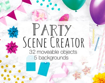 Party Scene Creator, Moveable Mockup, Card Mockup With Moveable Objects, Birthday Invitation Mock Up Creator, Balloons Confetti and More!