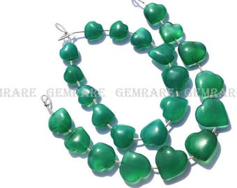 Green Onyx Smooth Valentine Heart Semiprecious Gemstone Beads, Quality AAA, 10 to 11.50 mm, 18 cm, 14 pieces, GR-034/1, Craft Supplies