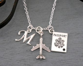 Airplane Necklace, Personalized Airplane Necklace, Silver Plane Necklace, Initial Necklace, Airplane Jewelry, Travel Necklace, Passport