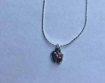 Baby feet necklace ; choose your stone
