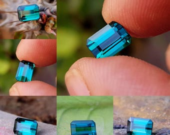 Superb quality Natural blue green tourmaline cut stone 1.30 carats from Afghanistan.