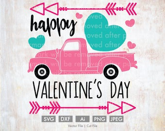 Happy Valentine's Day Old Truck - Cut File/Vector, Silhouette, Cricut, SVG, PNG, Clip Art, Download, Holidays, Hearts, Arrows, Candy