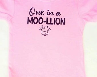 One in a Moo-llion Children's Shirt, Cow, Country Girl, Farm Girl, One In A Melon, Cowgirl, Farm Girl Shirt, Country Girl Shirts