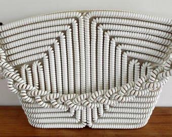 Vintage 1940s white telephone cord handbag