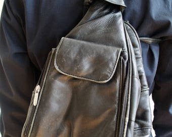 Vintage 90's Black Leather Joop Rucksack