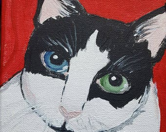 odd eyed kitty portrait folksy whimsical Gussy Cat black and white blue and green eyed cat 6'x6'