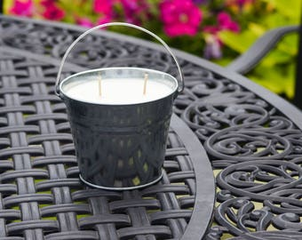 SALE Citronella Soy Wax Candle, Lemon Citronella, Mosquito Candle, Bug Repellent, Tin Bucket Candle, Outdoor Candle, Camping Candle