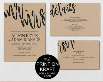 Rustic wedding invitation template etsy rustic wedding invitation template mr and mrs wedding invitation suite wedding template invite set pronofoot35fo Image collections