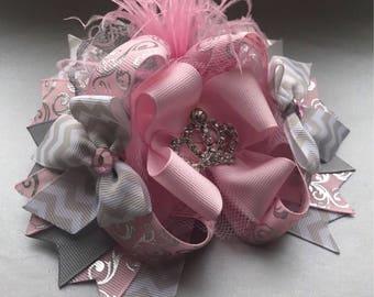 OTT boutique stacked hair bow, princess tiara hair clip-pagaent bow- big hair bow-special occasion girls wear.