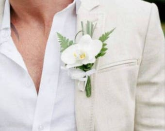 White orchid boutonnier