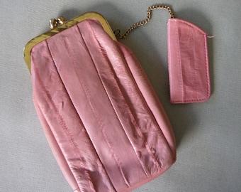 Vintage Eel Skin Pretty Pink Cigarette Case with Lighter Holder
