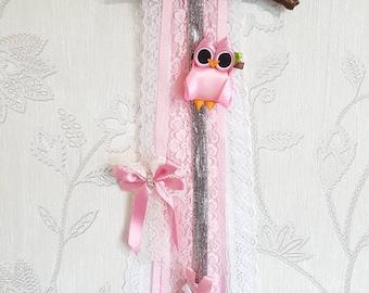 Hand made ribbon Owl hair bow holder and hair clip gift set