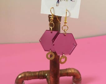Pink Mirror Acrylic earrings with Gold Plated fastenings and brass washer.