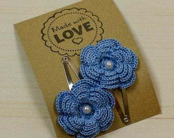 Handmade hair clips; flowers clips; crochet hair clips; flowers clips; girls hair; hair stuff;crochet flower hair clips; girls clips