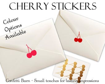 Cherry Stickers - 1950's Party - Vintage - Removable Vinyl - Envelope Sealing Stickers - Planner Stickers #80
