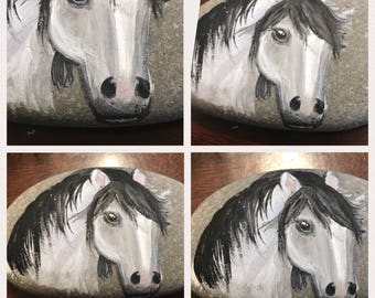 Hand painted rock, horse rock, pony, stone painting, rock painting