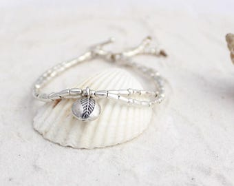 Hill tribe silver leaf bracelet, ladies charm, bracelet, rice beads and double strand bracelet