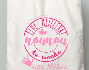"""Bag nanny gift tote bag ' best Nanny in the world"" pink - nanny gift idea"