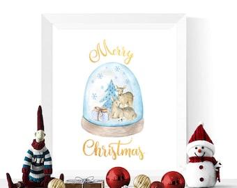 Christmas Decorations | Reindeer Snowglobe Merry Christmas Printable | Christmas Printables  | Christmas Decorations | Digital Download