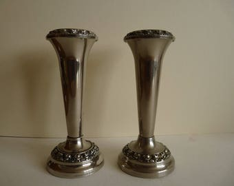 Pair of Ianthe silver bud vases
