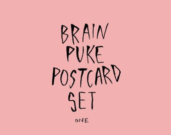 Brain Puke Postcard Set 1 - Four Postcards