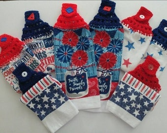 4th of July Kitchen Towel. Patiotic red, white and blue themed towels with a crochet top.