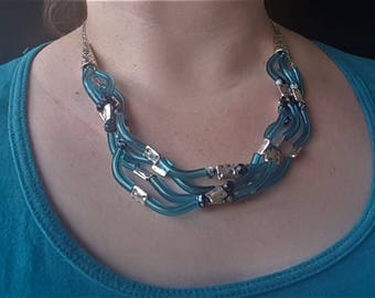 Blue and Silver Statement Necklace, Bib Necklace, Statement Jewelry
