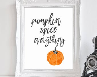 Pumpkin Spice, Fall Mantle Decor, Happy Fall Printable, Coffee Sign, Thanksgiving Decor, Coffee Bar, Fall Pumpkins, Pumpkin Home Decor