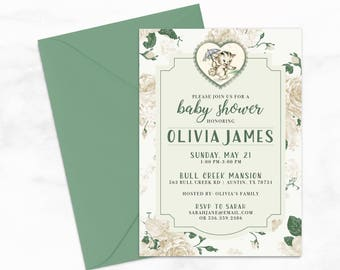 "Vintage Kitten Baby Shower by Arbor Grace Collections, 5"" x 7"" PRINTABLE Invitation, Kitten, Cat, Baby Shower"