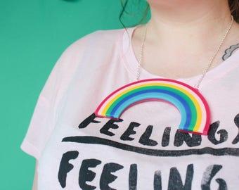Big Statement Rainbow Necklace, Acrylic, Laser Cut,