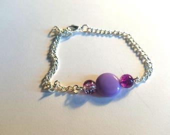 pretty simple bracelet with purple flat bead
