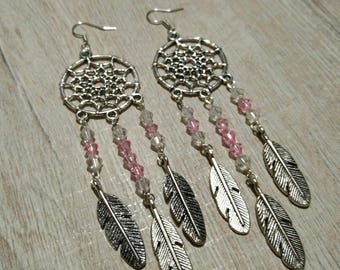 White and pink dream catcher earrings
