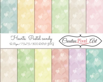 Hearts Pastel Candy , Digital Paper , Heart  Paper Download, Scrapbooking paper , For personal and small business use
