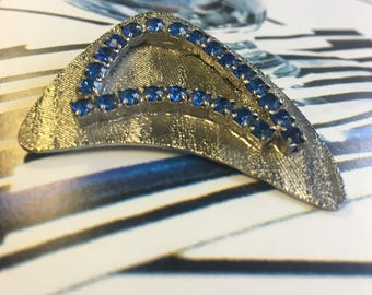 Vintage 1950s Boomerang brooch w stones *FREE SHIPPING*