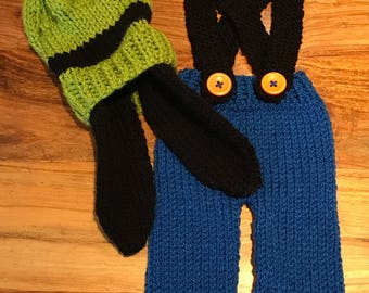 Hand Knitted Goofy Newborn Photo Prop Outfit. Made to Order