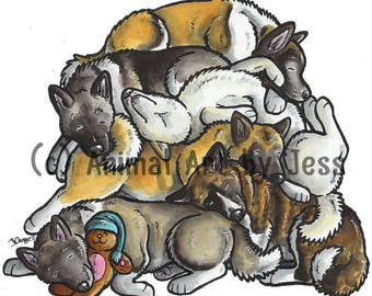 "AMERICAN AKITA - Original 10x12"" mounted ink cartoon of a pile of sleepy Akitas (Great Japanese dogs), by Yorkshire artist Jess Chappell"
