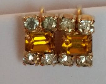 Ann Vien Topaz & Clear Rhinestone Earrings