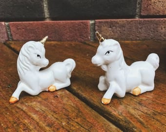 Unicorn Salt and Pepper Shakers White and Gold Unicorn Salt and Pepper Shakers