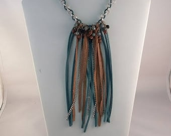 Turquoise and Brown Suede Leather Fringe Necklace on Silver chain