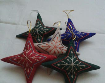Silk Christmas ornaments,Embroidered Christmas ornaments, star decoration,Star Christmas ornaments
