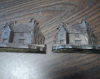 Vintage Brass 'House' Bookends